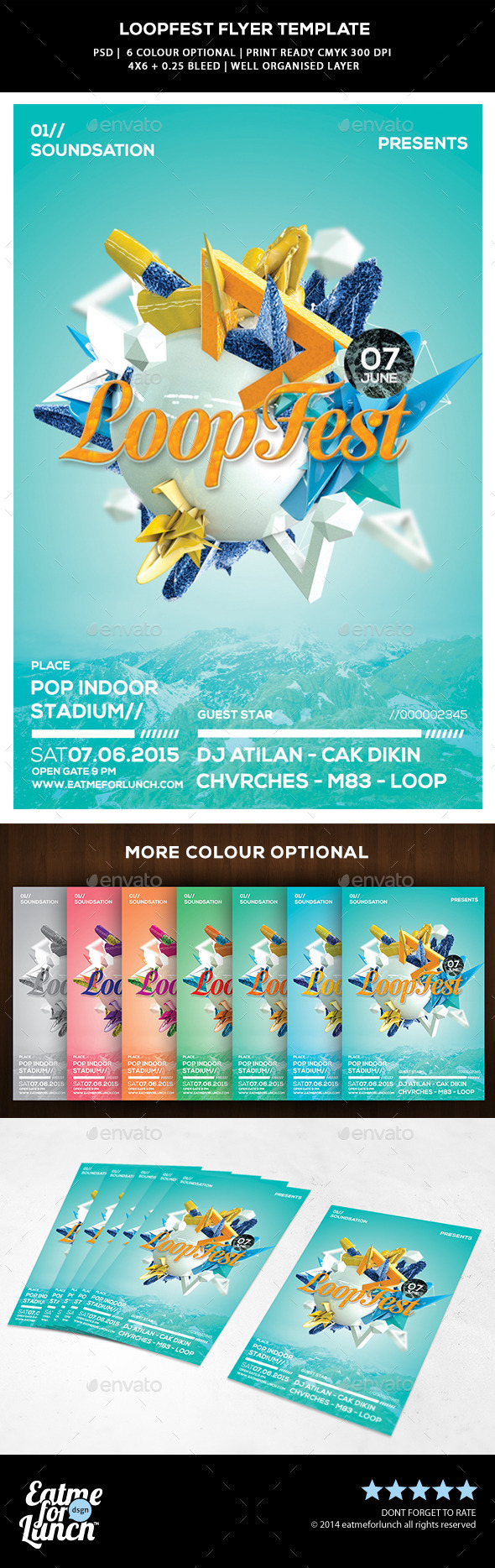 Pop Abstract Flyer Template - Loop Fest - Concerts Events