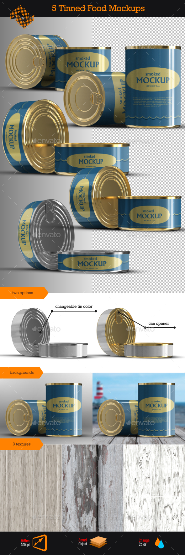 Canned \ Tinned Food Mockups - Food and Drink Packaging