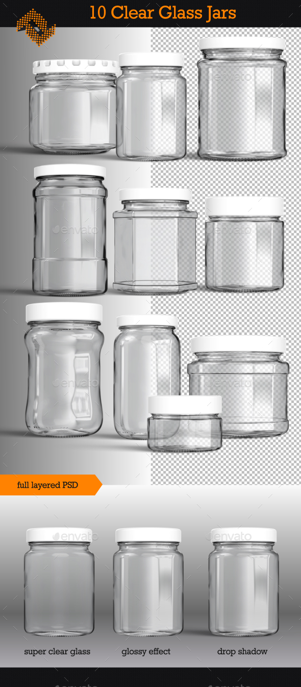 10 Isolated Clear Glass Jars - Objects Illustrations