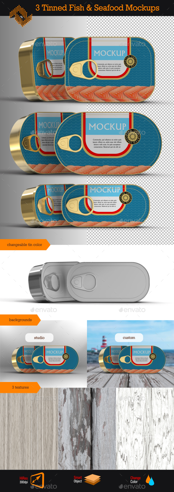Tinned Fish & Seafood Mockup - Food and Drink Packaging