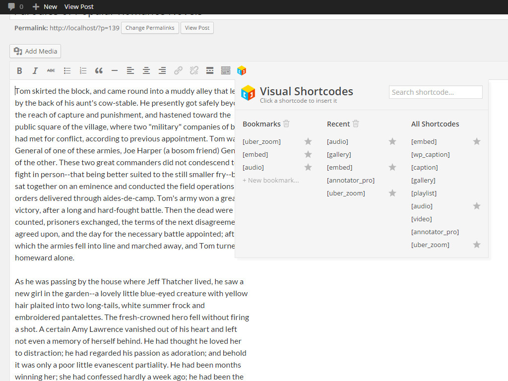 Visual Shortcodes for WordPress
