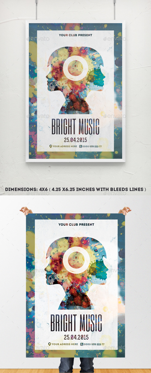 Bright Music Poster Template - Clubs & Parties Events