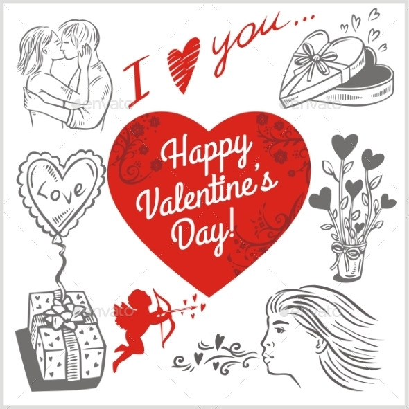 Valentines Day - Vector Set. - Valentines Seasons/Holidays