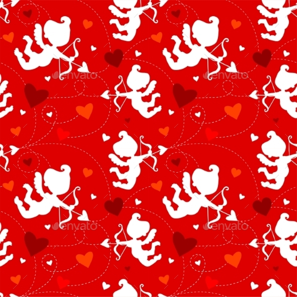 Pattern with Cupids - Valentines Seasons/Holidays