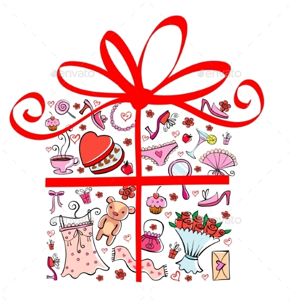 Gift Ideas for Girl in Gift Shape. - Valentines Seasons/Holidays