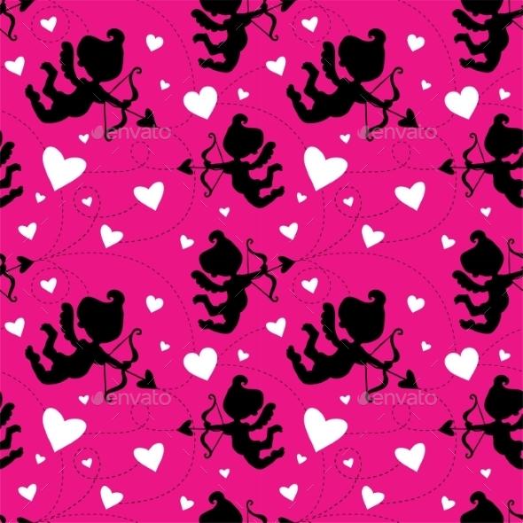 Pattern with Cupids - Valentines Seasons/Holidays