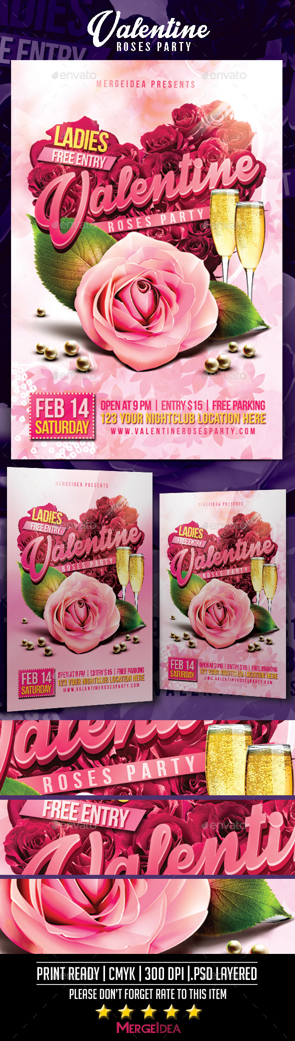 Valentine Roses Party Flyer - Clubs & Parties Events