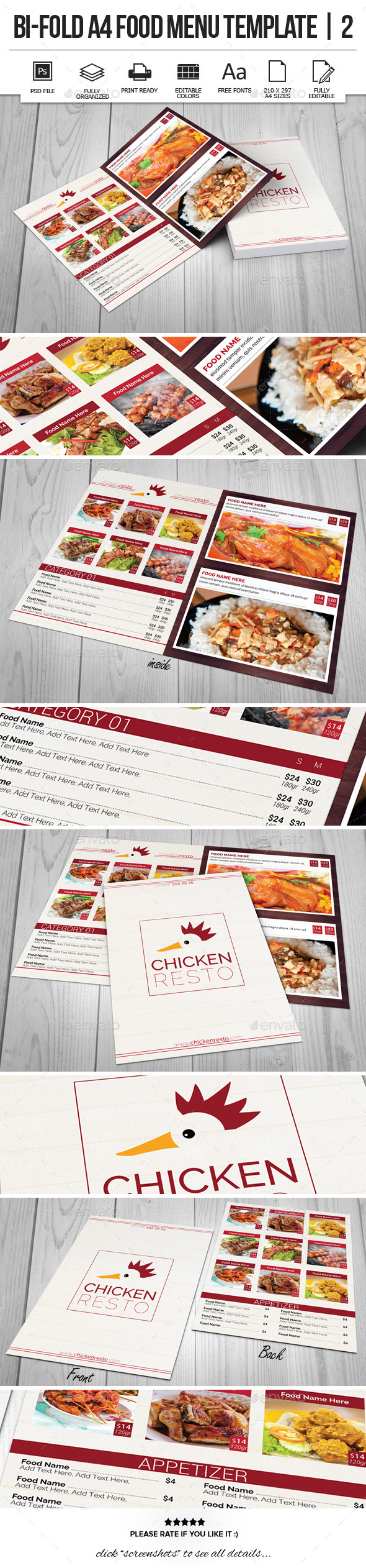 Bi-Fold A4 Food Menu Template | 2 - Food Menus Print Templates