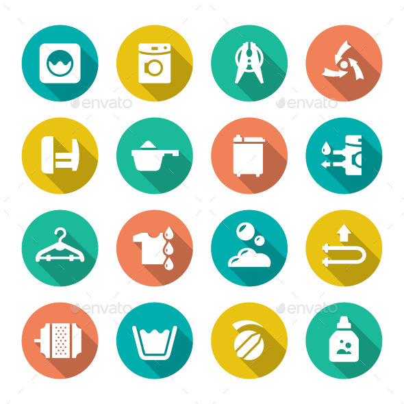 Set Flat Icons of Laundry - Man-made objects Objects