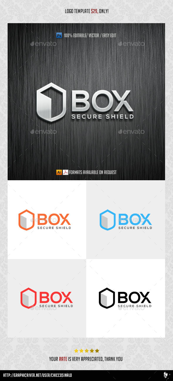 Box Shield Logo Template - Abstract Logo Templates