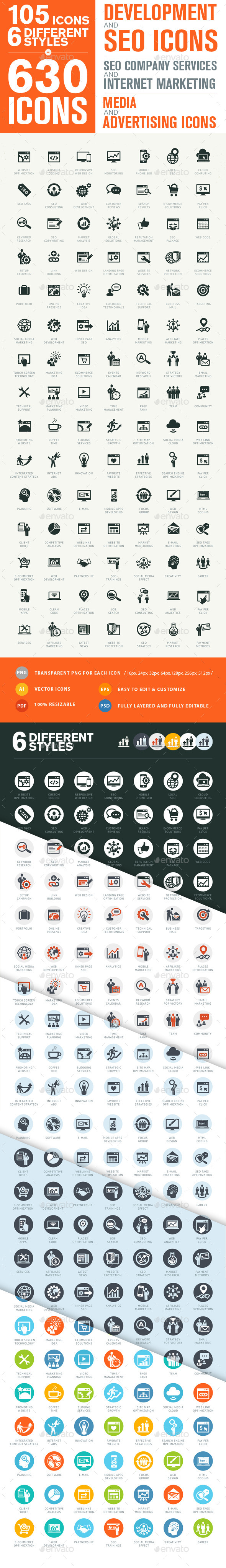 Set of Modern SEO Services Icons - Icons