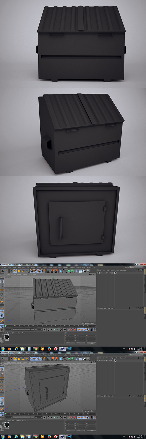 Low Poly Waste Container - 3DOcean Item for Sale