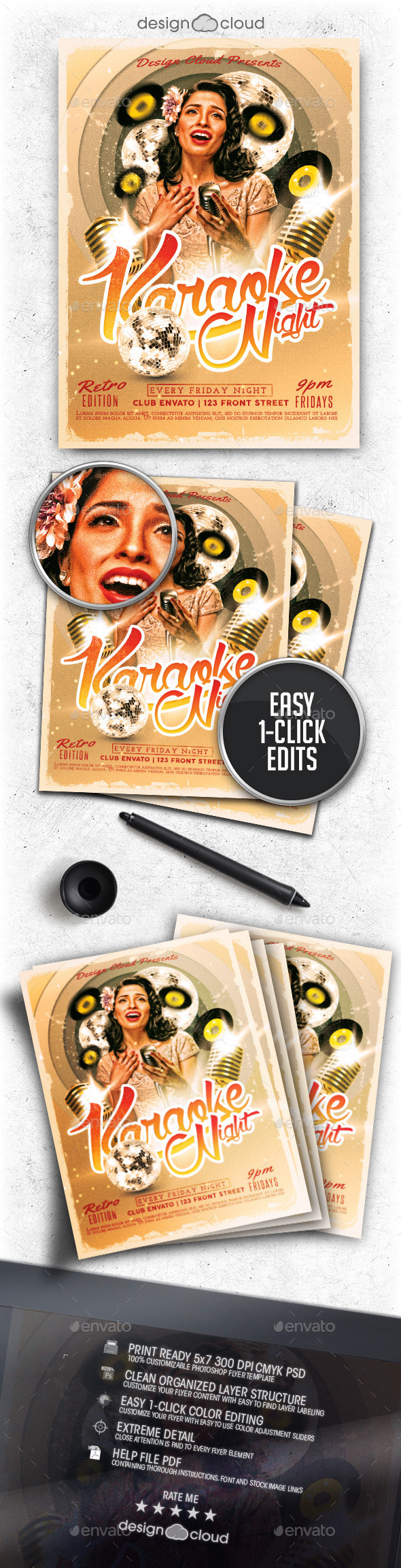 Retro Karaoke Night Flyer Template - Clubs & Parties Events