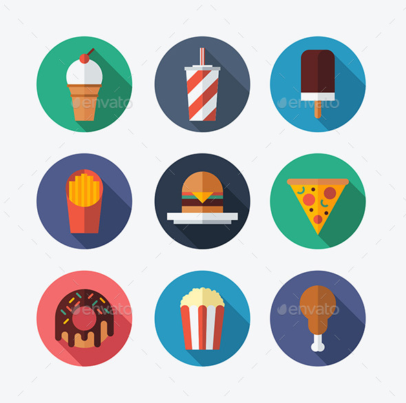 Fast Food Flat Icons - Food Objects