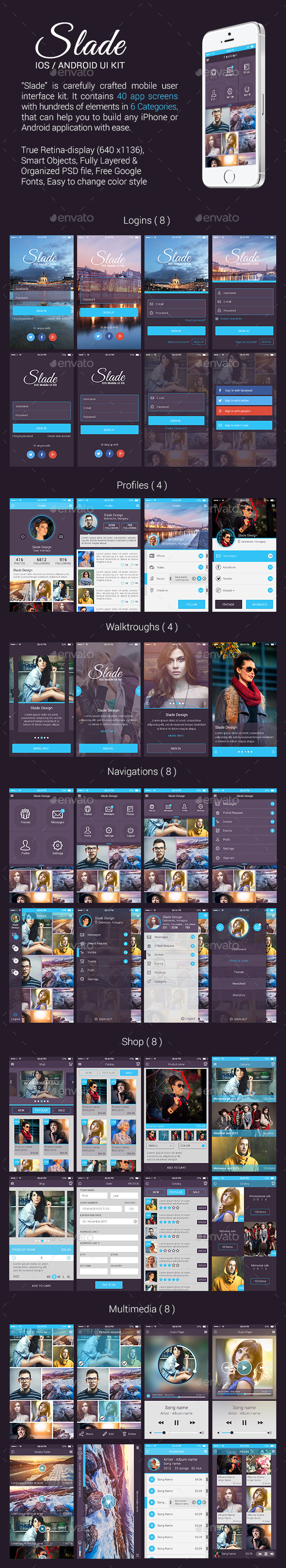 Slade iOS / Android UI Kit - User Interfaces Web Elements