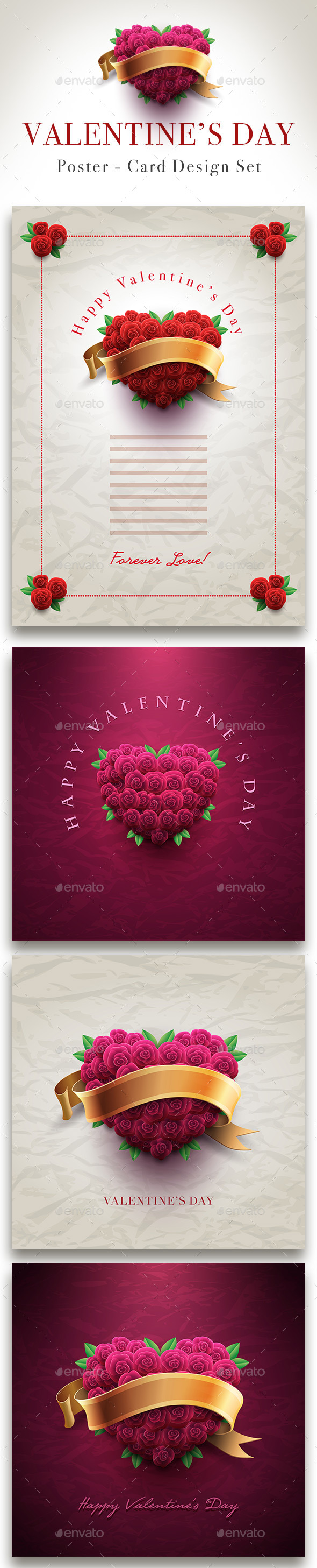 Valentine's Day Rose Heart Card Set - Valentines Seasons/Holidays
