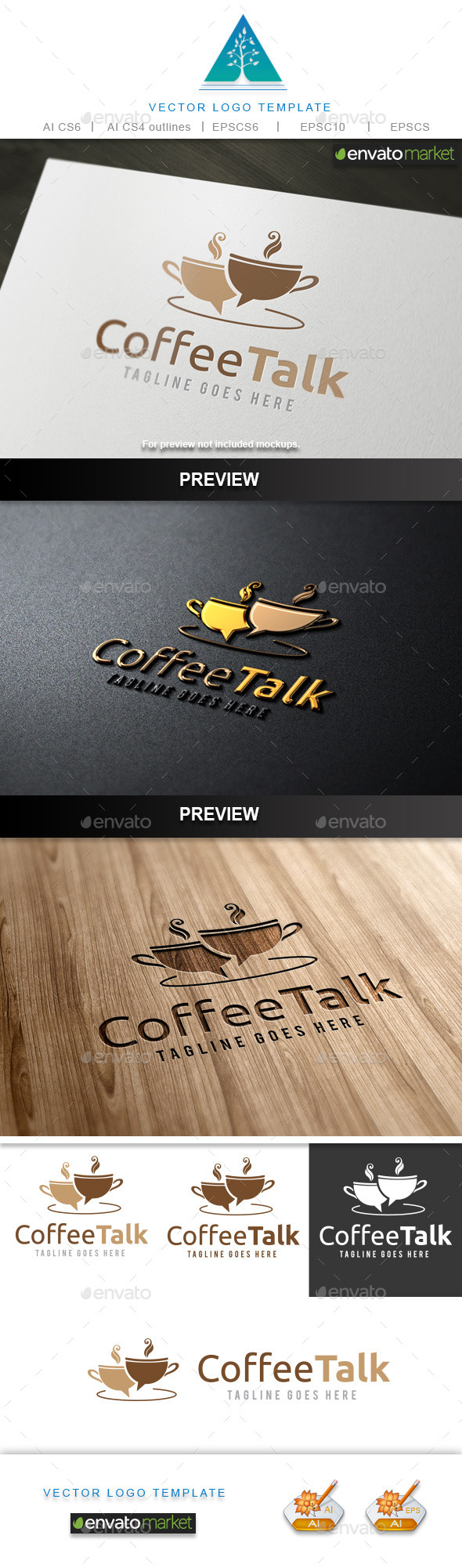 Coffee Talk Logo - Food Logo Templates