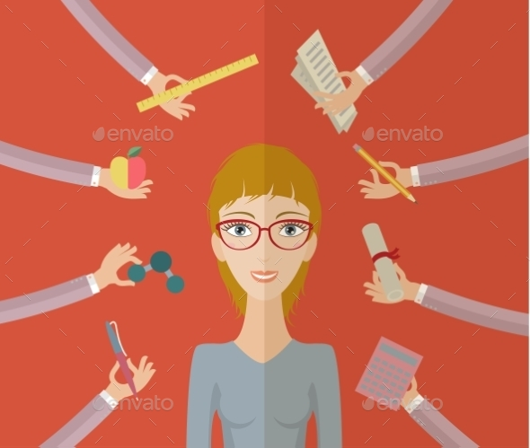 Multitasking Character - Conceptual Vectors