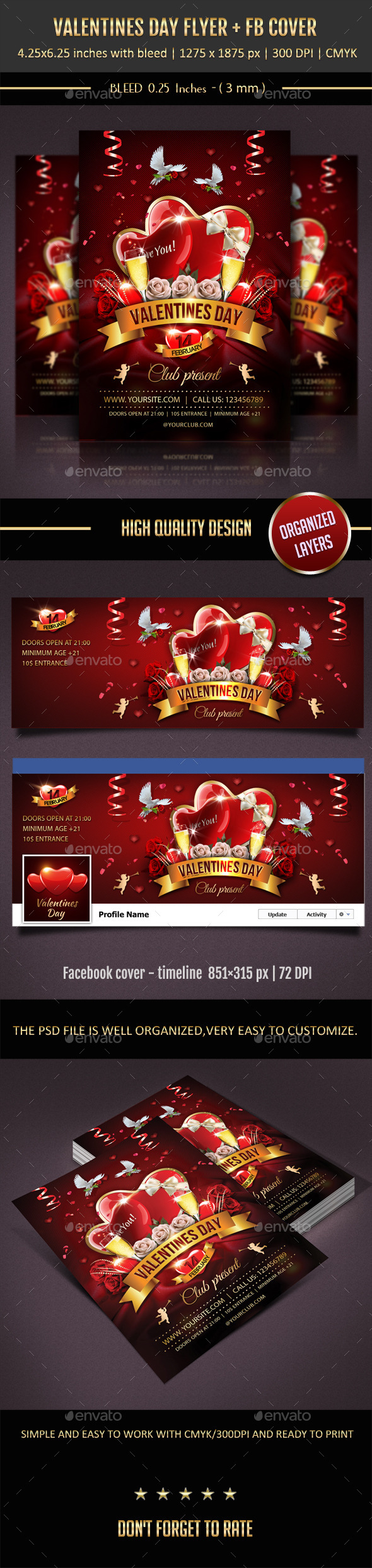Valentines Day Flyer + Facebook Cover - Events Flyers