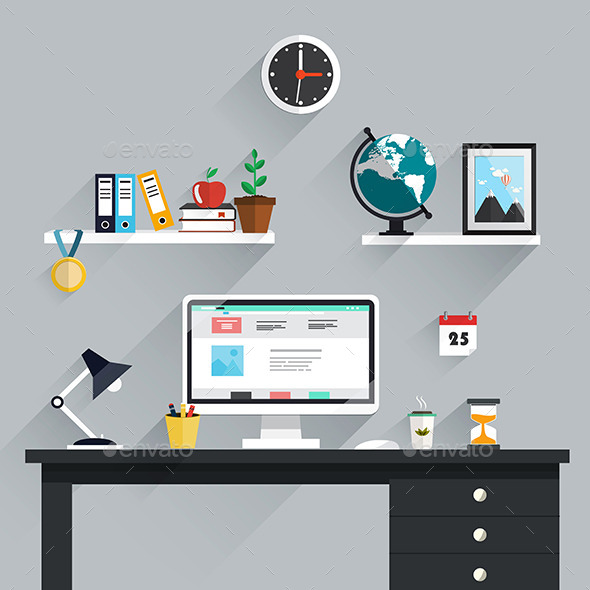 Workplace Icons and Elements  - Backgrounds Decorative
