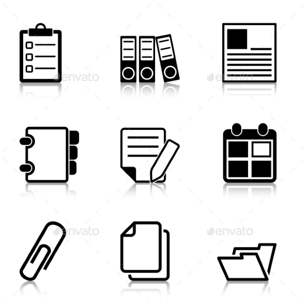 Document Office Icons with Refection - Business Icons