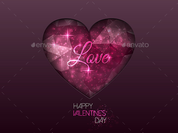 Colorful Abstract Background with Polygonal Heart - Valentines Seasons/Holidays