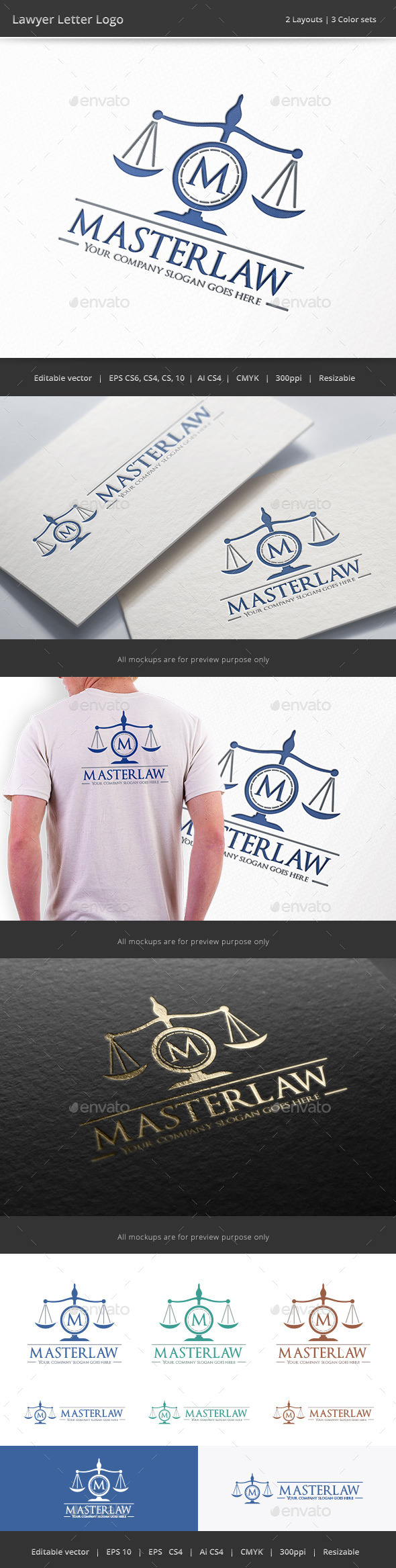 Lawyer Letter Logo - Objects Logo Templates