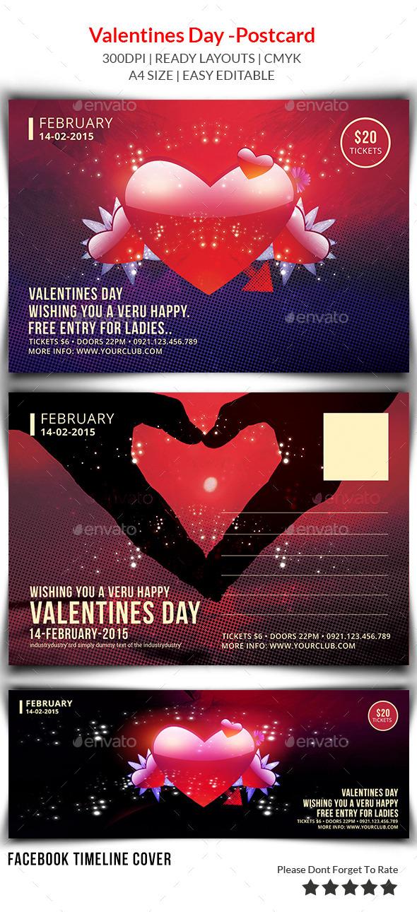 Valentines Day Postcard Print Templates  - Cards & Invites Print Templates