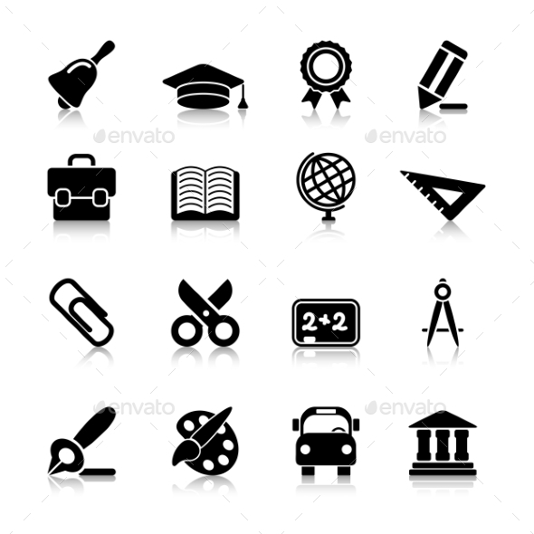 Education Icons with Reflection - Icons