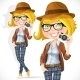 Hipster Girl with a Camera - GraphicRiver Item for Sale