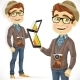 Hipster Guy in Hat with a Tablet Computer - GraphicRiver Item for Sale