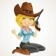 Blond Cowgirl with Revolver Sitting on Floor  - GraphicRiver Item for Sale