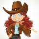 Curly Hair Cowgirl with Hand to the Side - GraphicRiver Item for Sale
