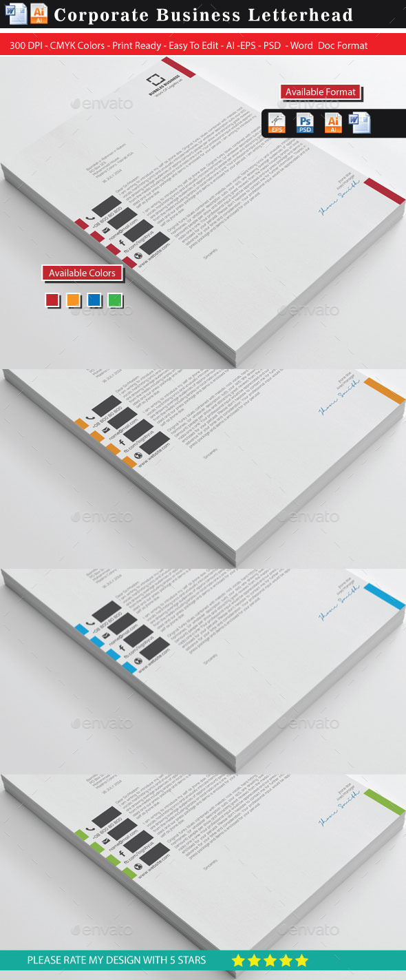 Corporate work 4 Business Letterhead - Stationery Print Templates