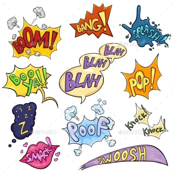 Vector Set of Cartoon Comics Phrases and Effects. - Miscellaneous Vectors