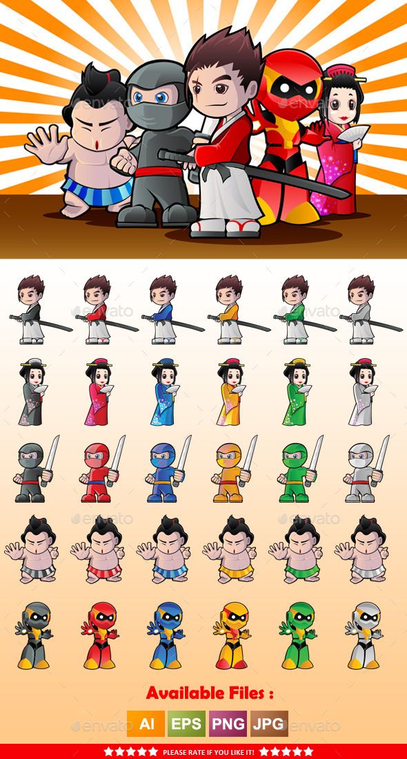 Japanese Character Mascot - People Characters