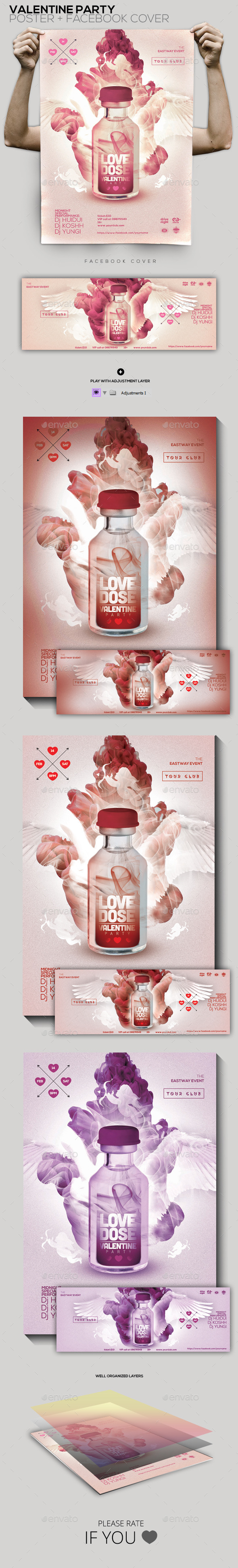 Love Dose Valentine Party Flyer/Poster/Facebook Co - Clubs & Parties Events