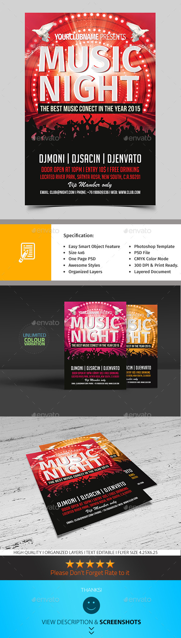 Music Night Party Flyer - Clubs & Parties Events