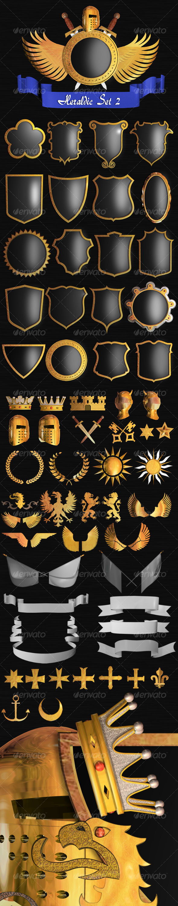 Heraldic Set II - Objects 3D Renders