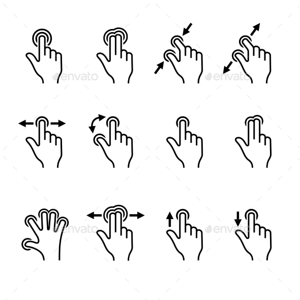 Gesture Icons Set for Mobile Touch Devices. Vector - Media Icons