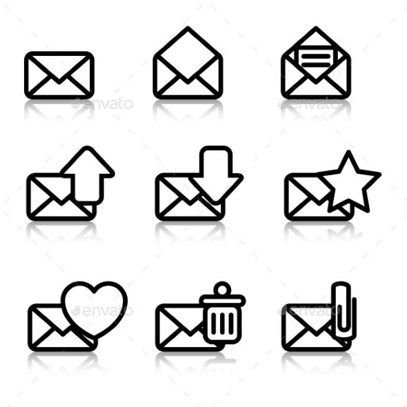 Envelopes Icons with Reflection - Business Icons