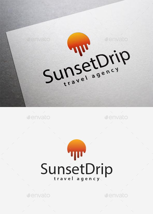 Sunset Drip Logo - Abstract Logo Templates