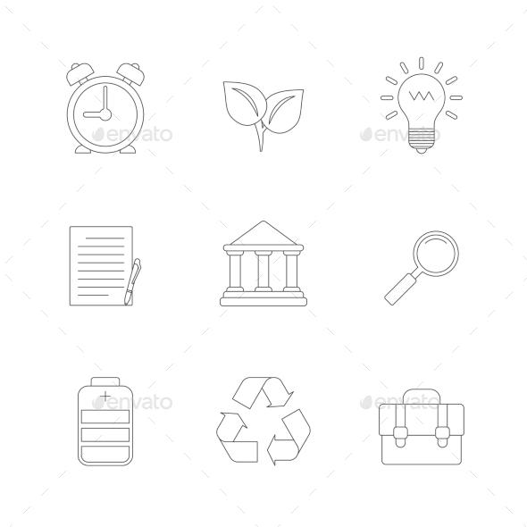 Flat Line Icons Set - Icons