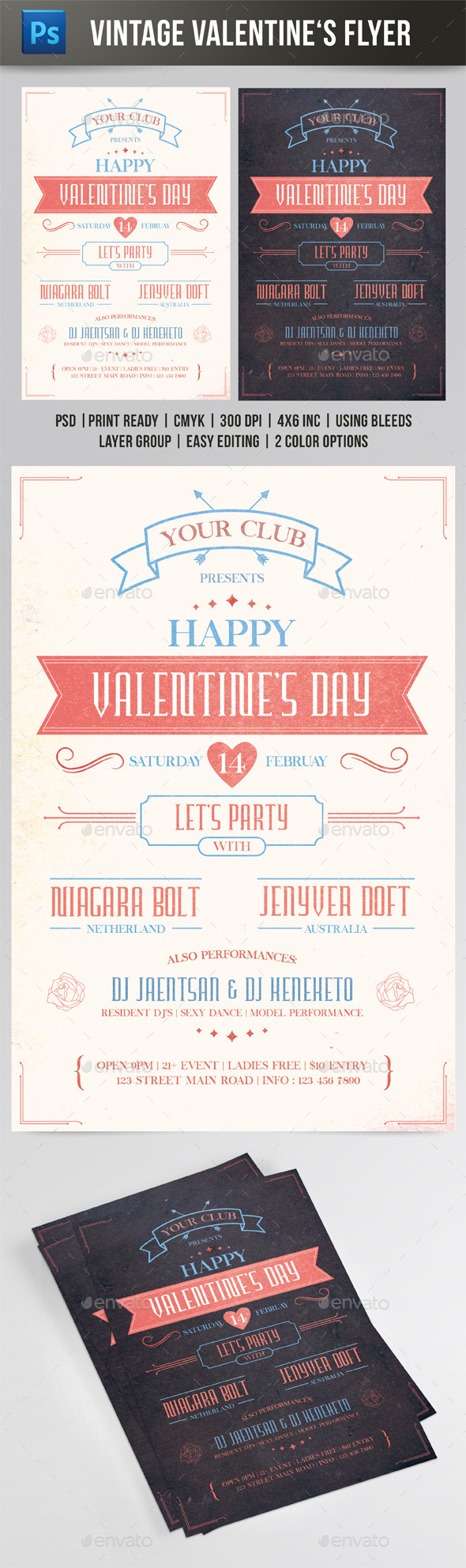 Vintage Valentine's Day Flyer - Events Flyers