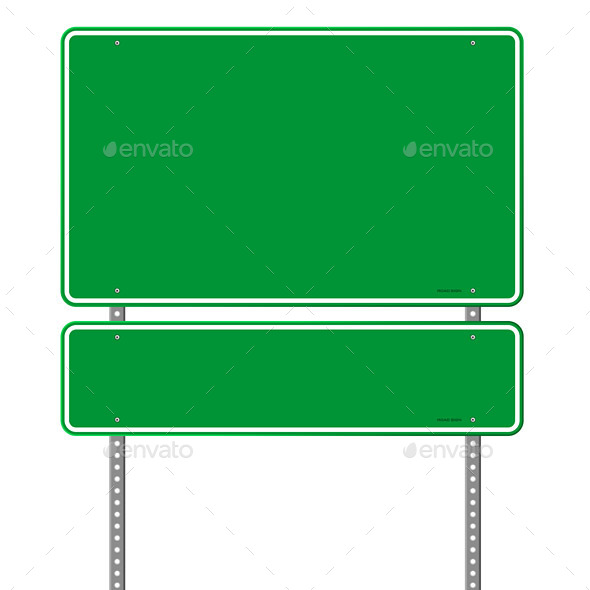 Green Blank Roadsign - Travel Conceptual