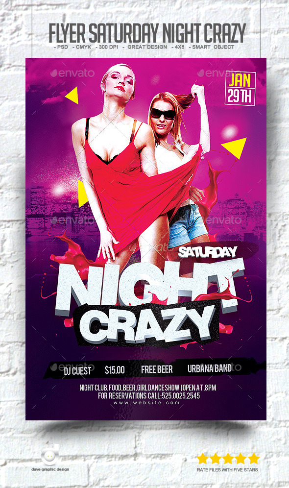 Flyer Saturday Night Crazy - Clubs & Parties Events