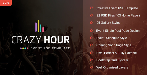 Crazy Hour - Event Management PSD Template - Events Entertainment