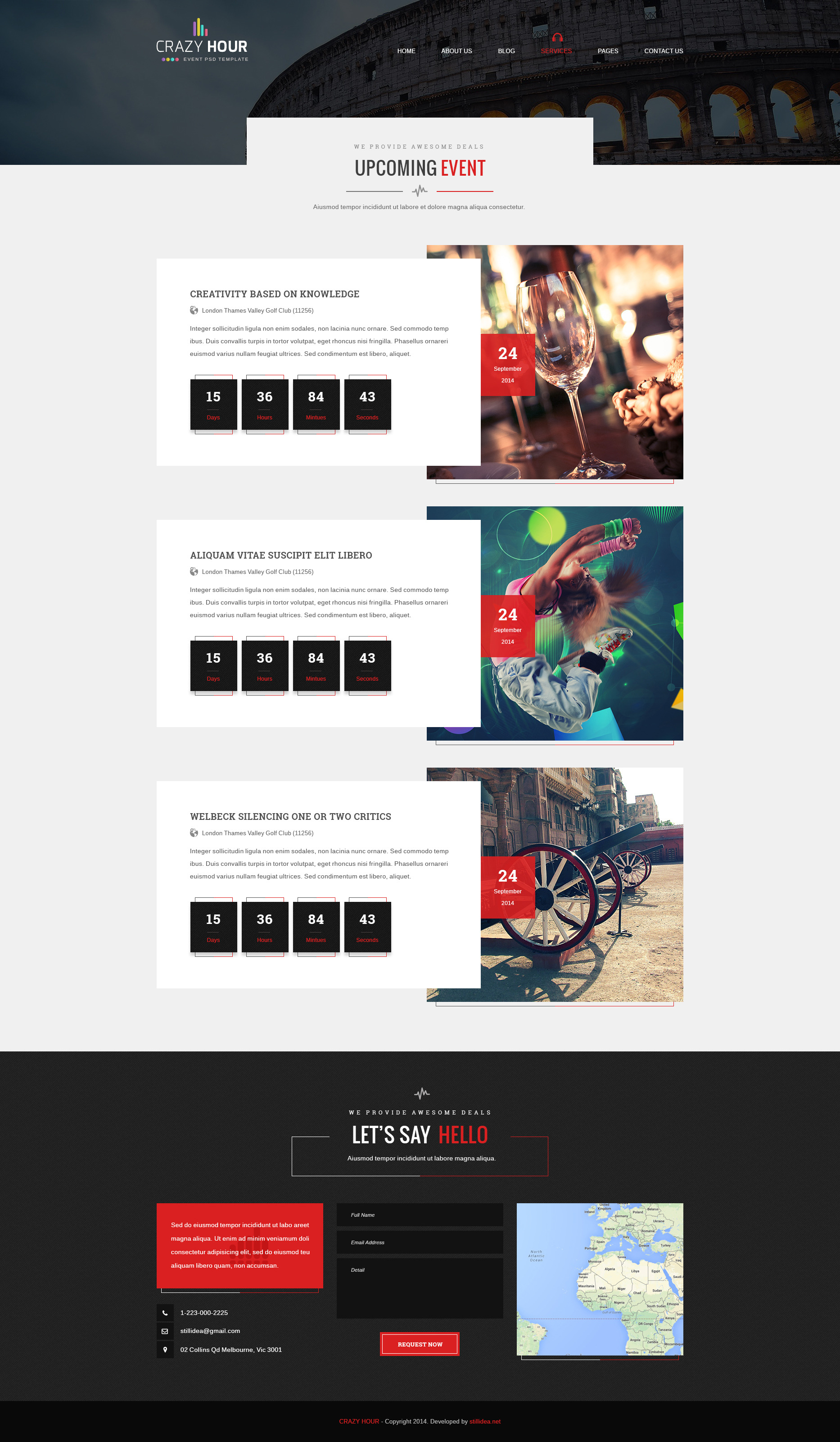 Crazy Hour - Event Management PSD Template by stillidea | ThemeForest