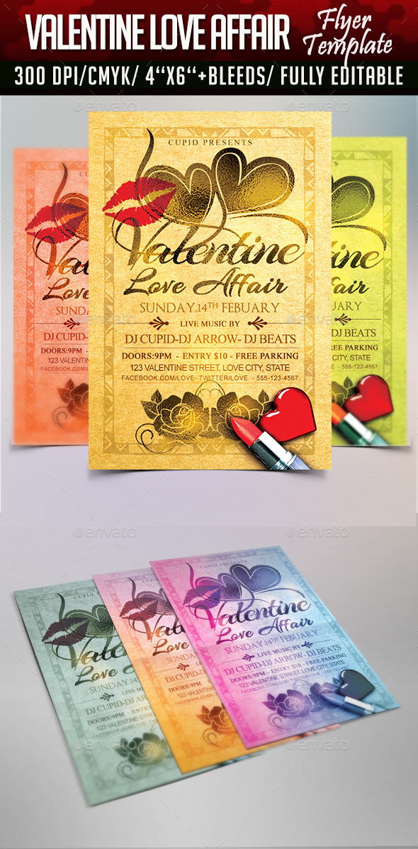 Valentine Love Affair Flyer Template - Flyers Print Templates