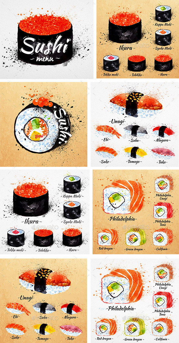 Watercolor Sushi Menu - Food Objects